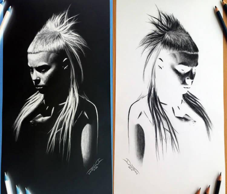 Yolandi Visser sketch drawing by Dino Tomic