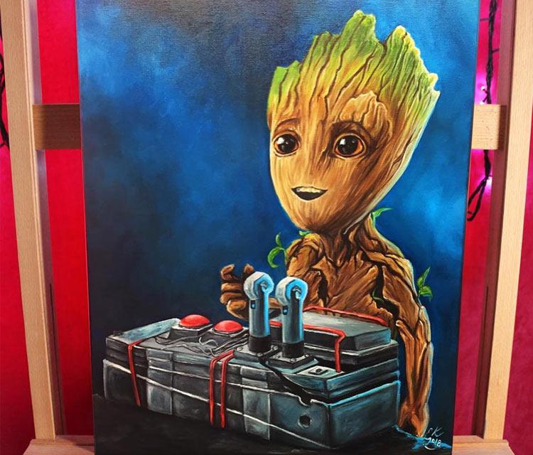 Baby Groot oil painting by Elienka Art