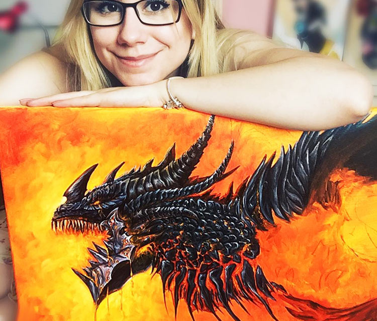 Deathwing oil painting by Elienka Art