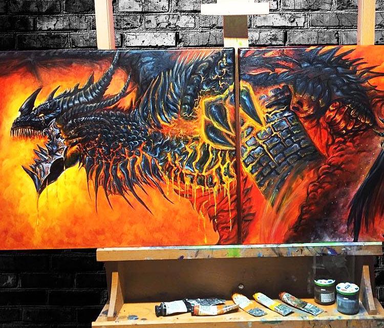 Deathwing oil painting by Elienka Art
