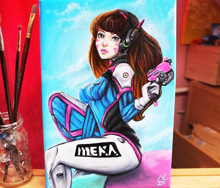 D.Va oil painting by Elienka Art