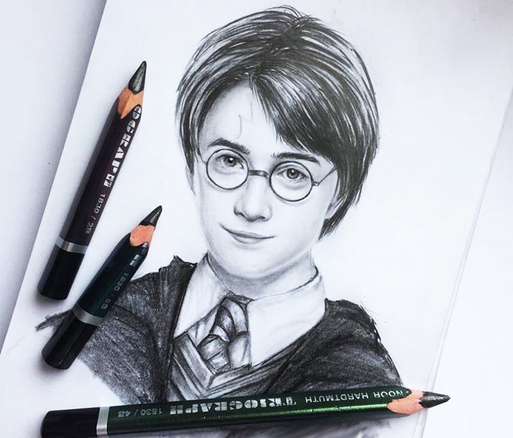 Harry Potter pencil drawing by Elienka Art