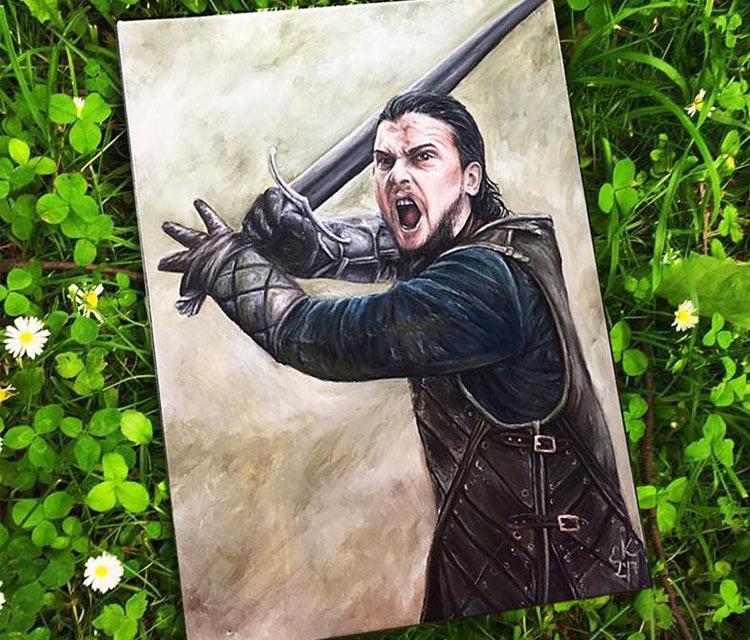 Jon Snow oil painting by Elienka Art