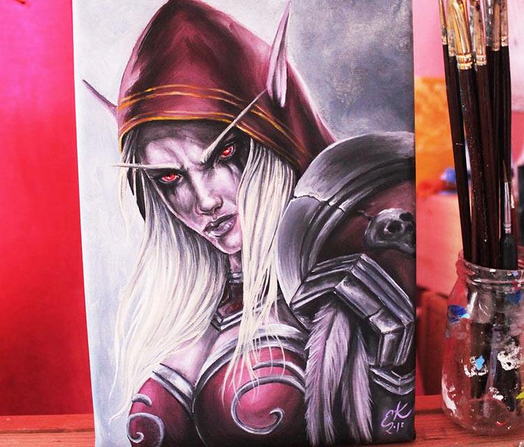 Sylvanas Windrunner oil painting by Elienka Art