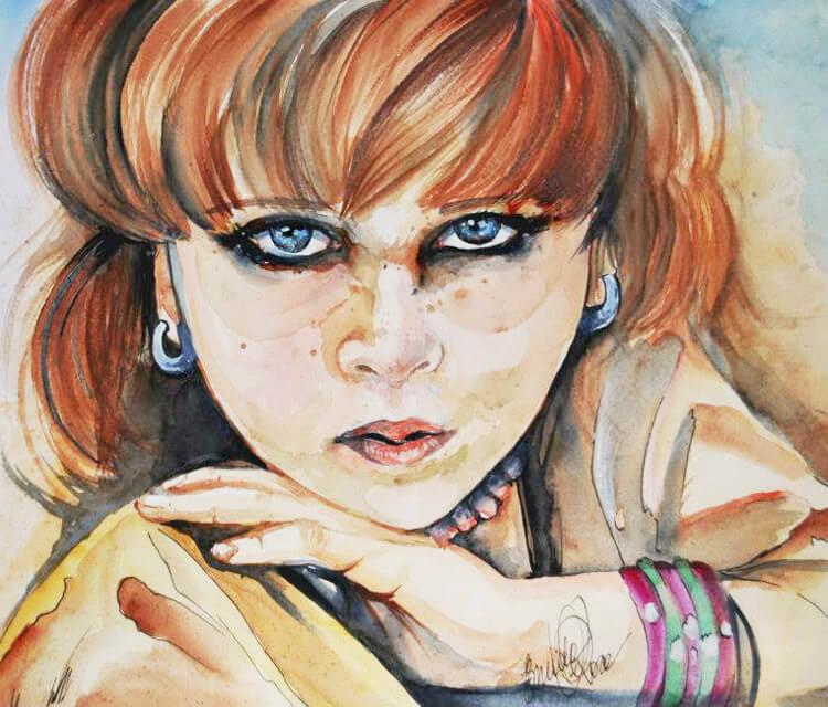 Afghan girl watercolor painting by Eneida Rosa