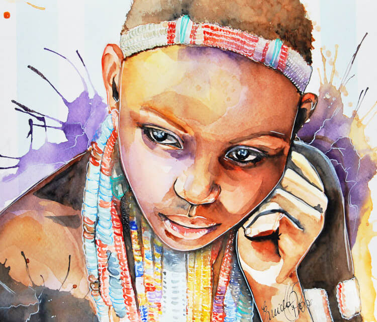 Ebore Girl watercolor painting by Eneida Rosa