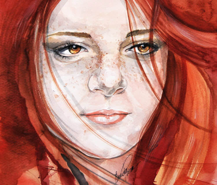Flame watercolor painting by Eneida Rosa