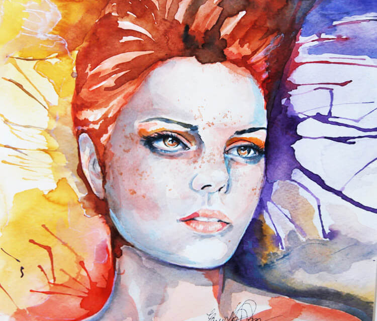 Girl on fire watercolor painting by Eneida Rosa