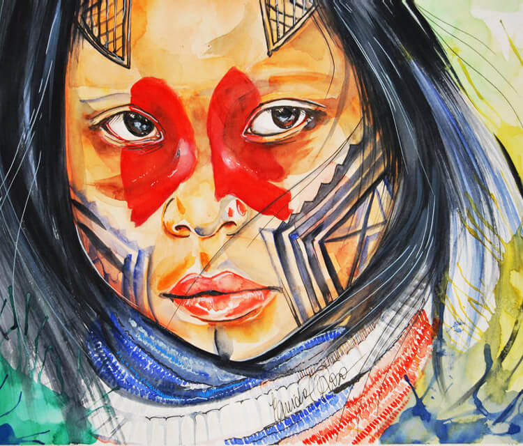 Guarani kaiowa child watercolor painting by Eneida Rosa