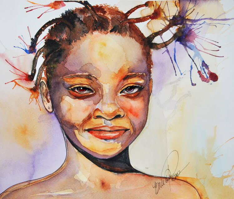 Nigerian girl watercolor painting by Eneida Rosa