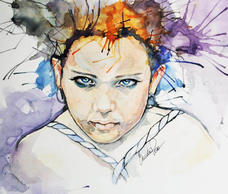 Pixie watercolor painting by Eneida Rosa