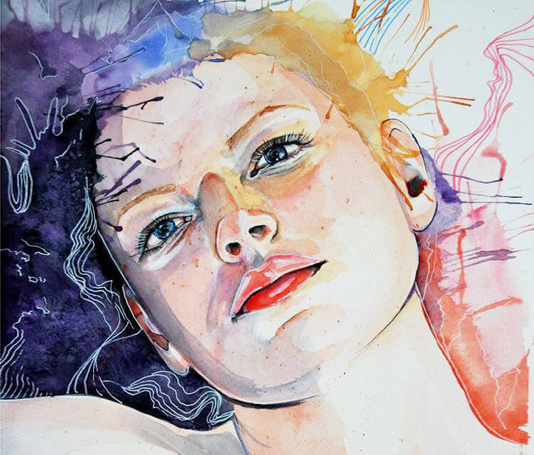 Watercolor portrait watercolor painting by Eneida Rosa