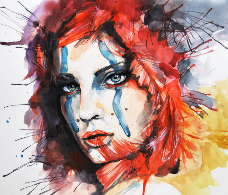 Watercolor warrior painting by Eneida Rosa