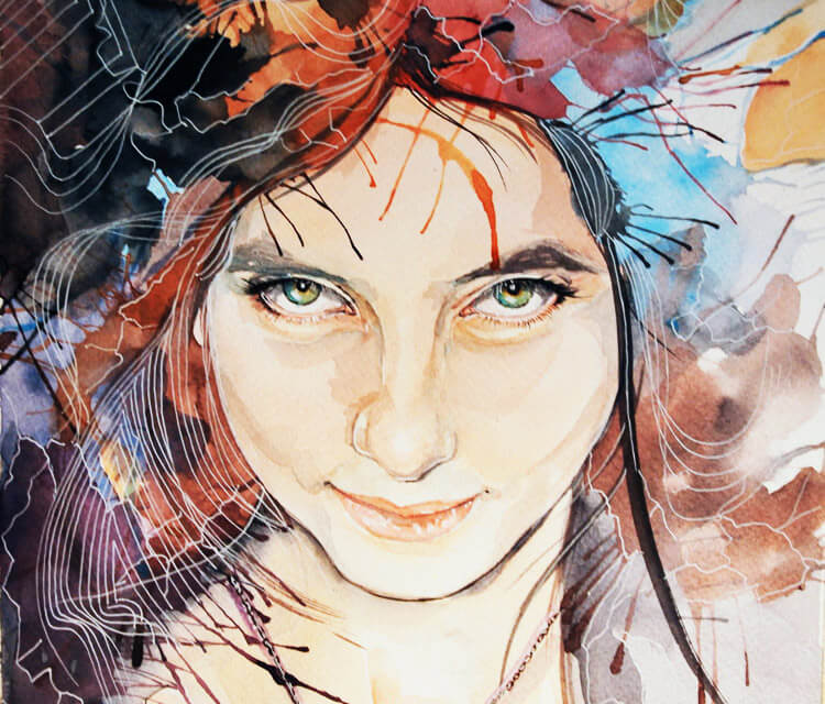 Whats in your head Laura painting by Eneida Rosa