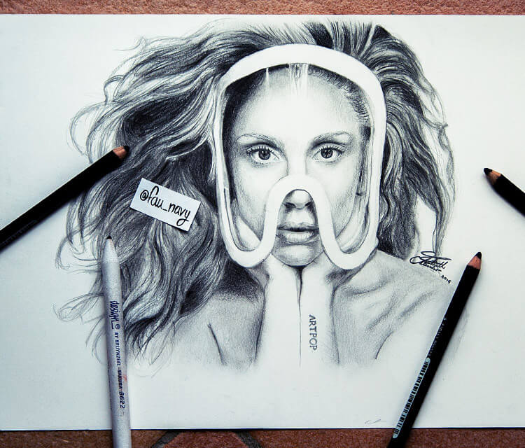 Lady Gaga sketch drawing by Fau Navy