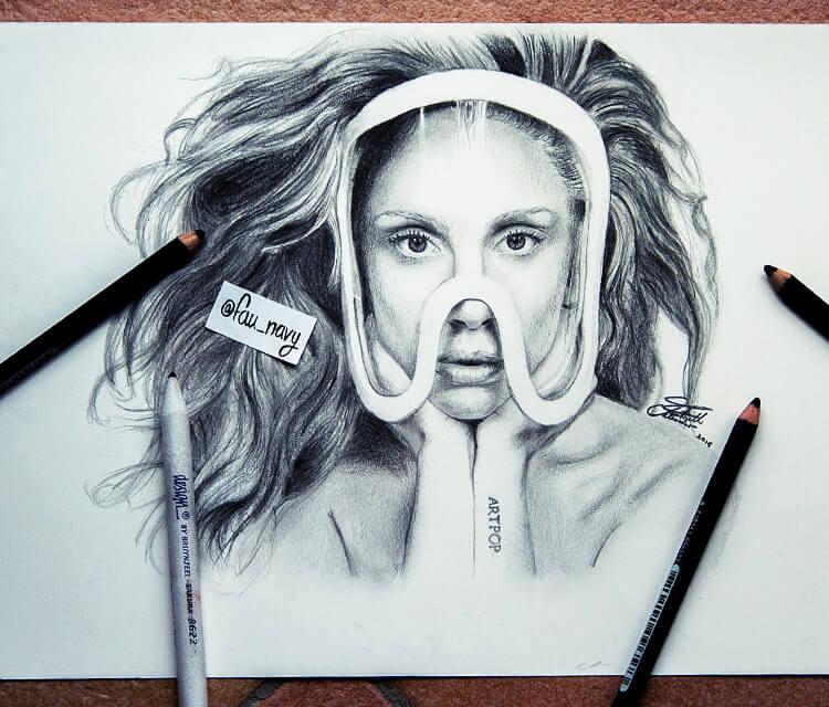 Lady Gaga sketch drawing by Fau Navy
