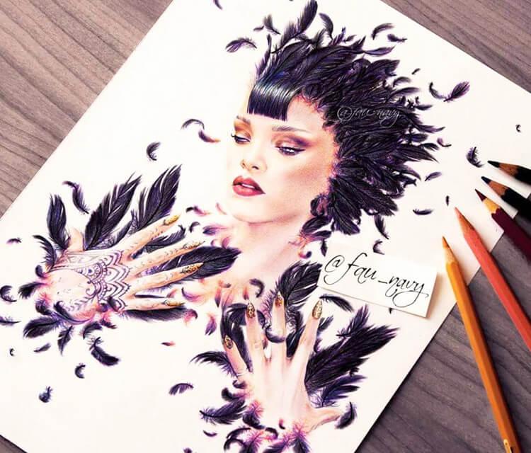 Ladyhawke Rihanna drawing by Fau Navy