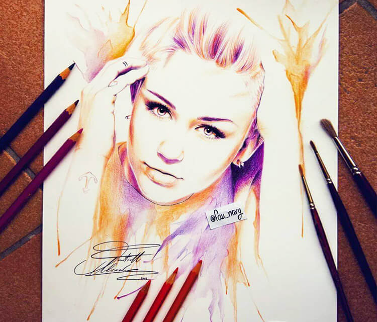Miley Cyrus as Hannah Montana color drawing by Fau Navy