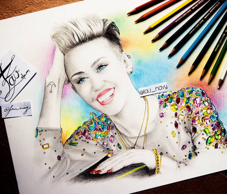 Miley Cyrus Portrait Color Drawing By Fau Navy No 1292