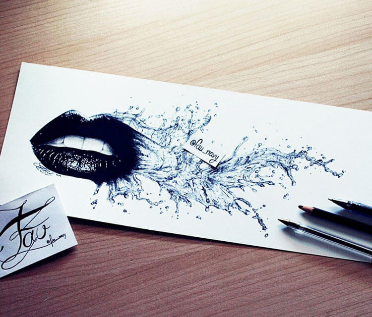 Mouth pen drawing by Fau Navy