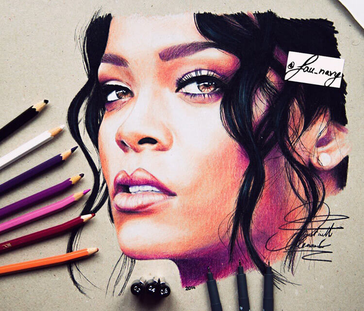 Red Rihanna marker drawing by Fau Navy
