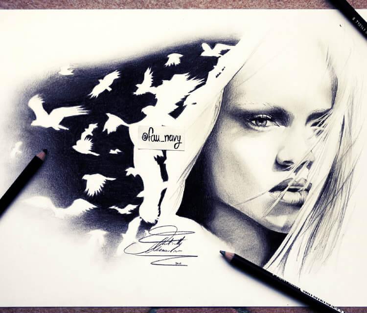 Rihana birds drawing by Fau Navy