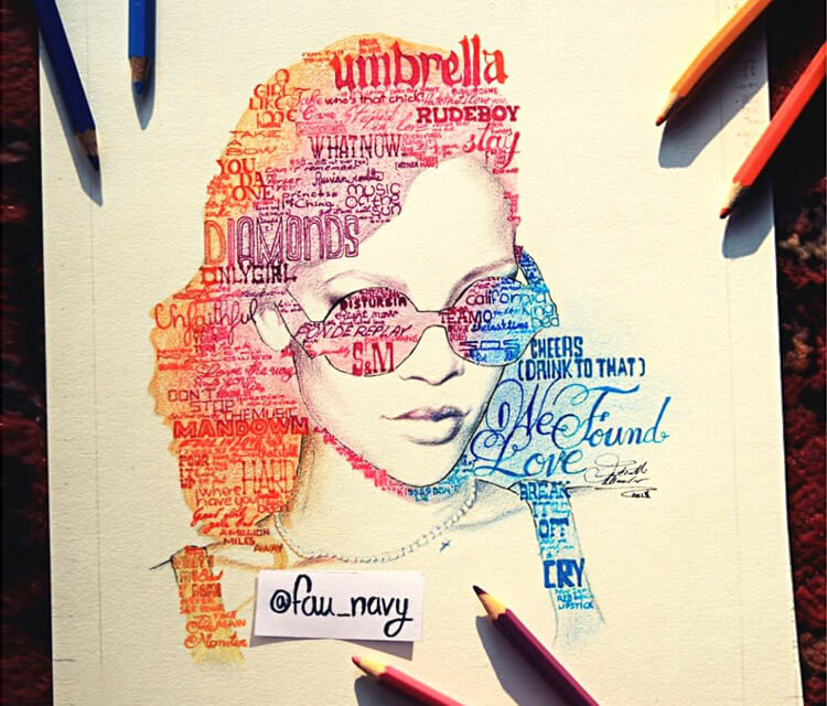 Rihana Songlist color drawing by Fau Navy