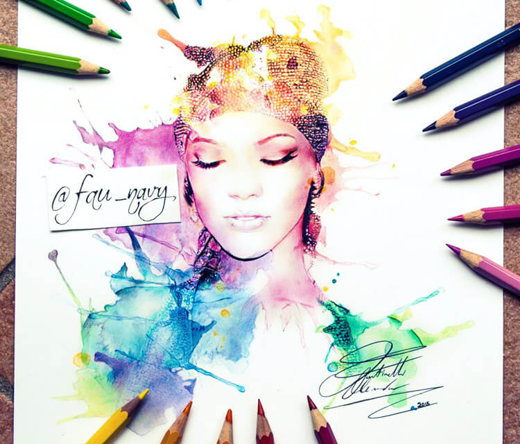 Rihanna color drawing by Fau Navy