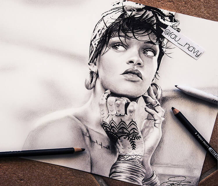 Rihanna 2 drawing by Fau Navy