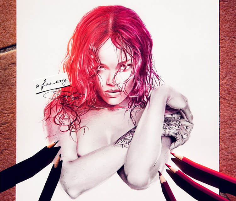 Rihanna 6 color drawing by Fau Navy