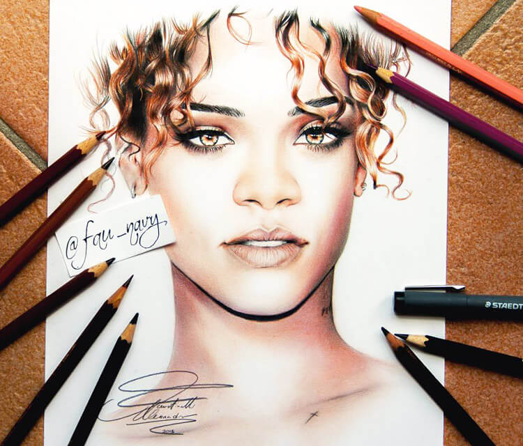 Rihanna 7 color drawing by Fau Navy