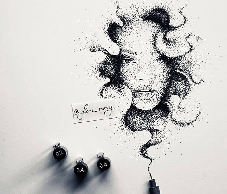 Rihanna dotwork pen drawing by Fau Navy