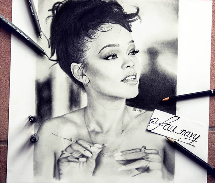 Rihanna portait drawing by Fau Navy