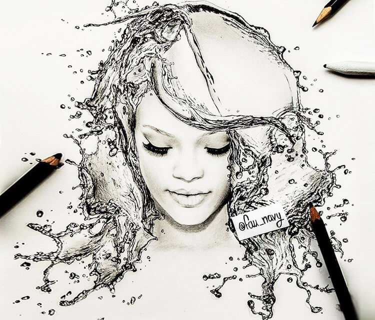 Rihanna Warer face drawing by Fau Navy