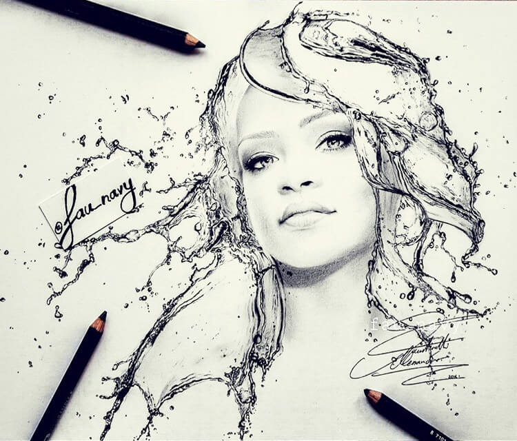 Rihanna Water face 1 drawing by Fau Navy