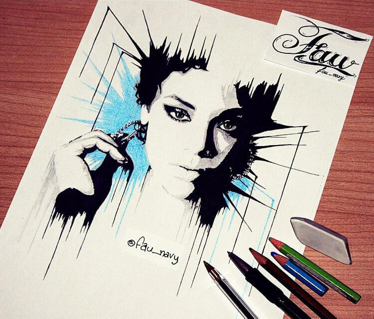 Riri face pen drawing by Fau Navy