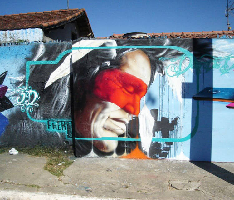 Indian portrait streetart by Fhero Art
