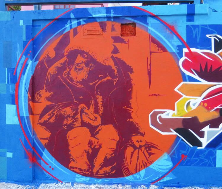 Old man streetart by Fhero Art