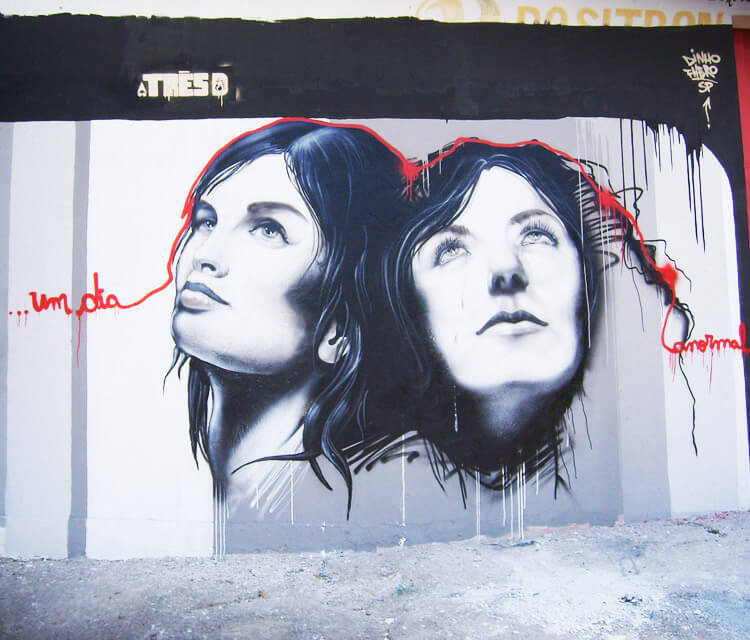 Two girls streetart by Fhero Art