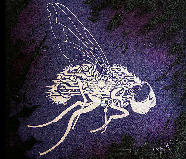 BioMechanical Fly mixedmedia by Frantisek Radacovsky