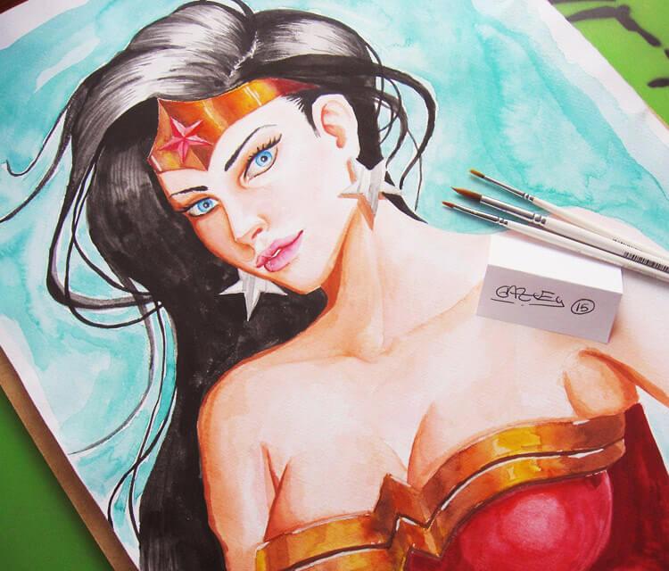 Wonder Woman watercolor painting by Garvel Art
