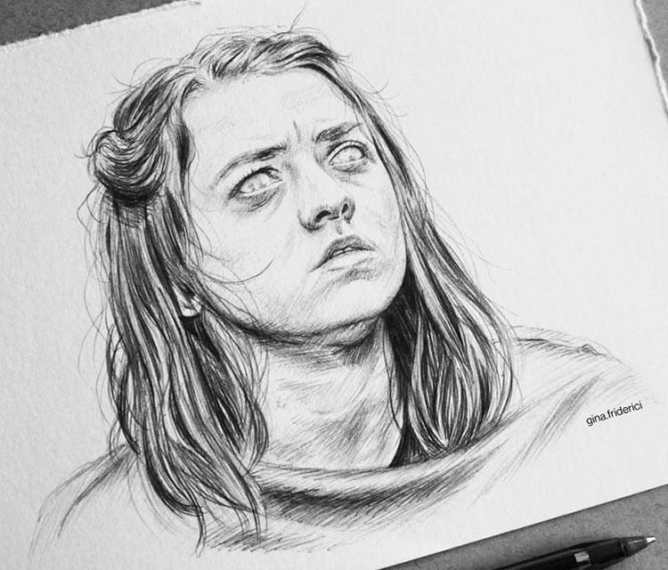 Arya Stark drawing by Gina Friderici
