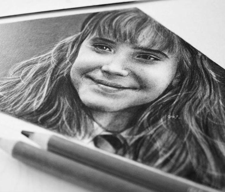 Hermione Granger pencil drawing by Gina Friderici