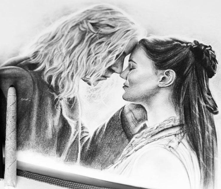 Lyanna and Rhaegar drawing by Gina Friderici
