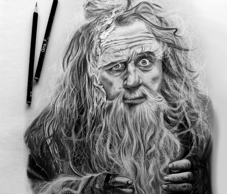 Radagast pencil drawing by Gina Friderici