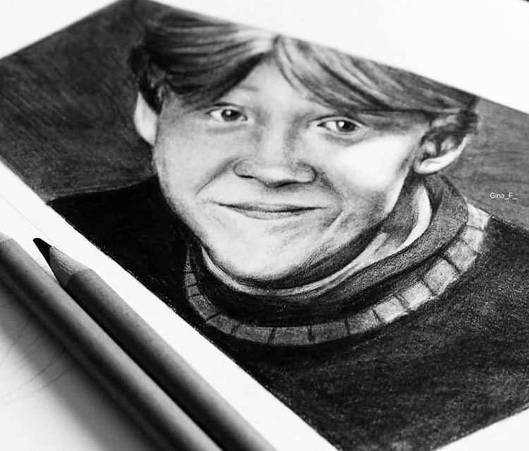 Ron Weasley pencil drawing by Gina Friderici
