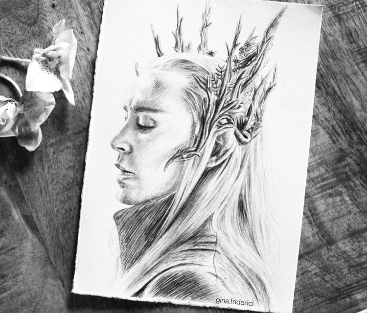 Thranduil pencil drawing by Gina Friderici