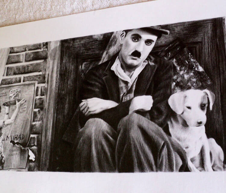 Charlie Chaplin drawing by Guilherme Silveira