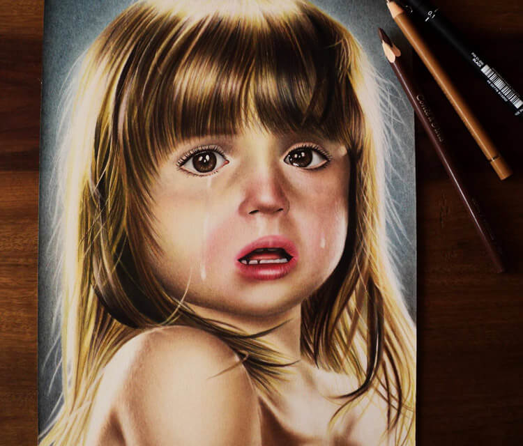 Children crying color drawing by Guilherme Silveira