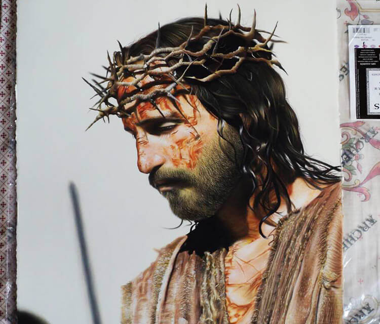 Christ color drawing by Guilherme Silveira